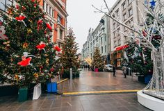 MOSCOW, RUSSIA - DECEMBER 23, 2016: New Year in Moscow, Arbat is decorated with Christmas trees. And glowing lights Royalty Free Stock Photos