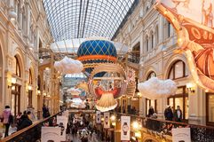 MOSCOW, RUSSIA - DECEMBER 3, 2017: New Year`s and Christmas decoration of the GUM in Moscow, Russia. GUM - shopping mall in the center of city Royalty Free Stock Photos