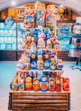 MOSCOW, Russia - December 19, 2018: Pyramid of colorful rainted russian nesting dolls Matryoshka at the market. Russian stock image