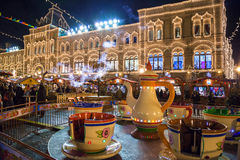 MOSCOW, RUSSIA - DECEMBER 24, 2014: Red square at night decorate Stock Photos