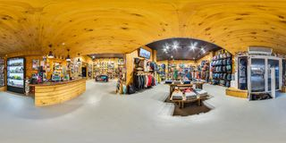 MOSCOW RUSSIA DECEMBER 21 2017 Shop sporting goods for active and extreme sports. Snowboards, skis, bicycles, 360 panorama royalty free stock image