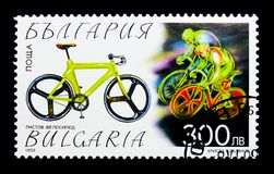 Indoor racing bike, Bicycles serie, circa 1999. MOSCOW, RUSSIA - DECEMBER 21, 2017: A stamp printed in Bulgaria shows Indoor racing bike, Bicycles serie, circa Stock Photos