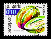 Muskmelon Cucumis melo, Cucurbits serie, circa 2002. MOSCOW, RUSSIA - DECEMBER 21, 2017: A stamp printed in Bulgaria shows Muskmelon Cucumis melo, Cucurbits Royalty Free Stock Photos