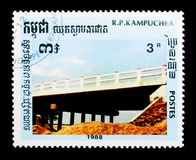 Kampuchea Cambodia postage stamp shows Bridge, serie, circa 1988. MOSCOW, RUSSIA - DECEMBER 21, 2017: A stamp printed in Kampuchea Cambodia shows Bridge, serie royalty free stock image