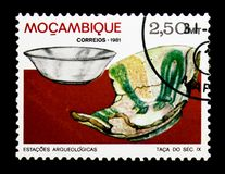Chalice, Archaeological Sites in Mozambique serie, circa 1981. MOSCOW, RUSSIA - DECEMBER 21, 2017: A stamp printed in Mozambique shows Chalice, Archaeological stock photography