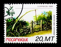 Hunting trap, Hunting World Expo-81 serie, circa 1981. MOSCOW, RUSSIA - DECEMBER 21, 2017: A stamp printed in Mozambique shows Hunting trap, Hunting World Expo Stock Image