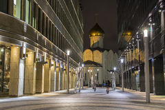 MOSCOW, RUSSIA - DECEMBER 14, 2014: Street near metro subway station Belorusskaya at night in Russia, Moscow business center Royalty Free Stock Photography