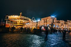 MOSCOW, RUSSIA - DECEMBER 23, 2016: Tourists on red Square in Moscow on the eve of new Year. `s eve at night in December Stock Photos