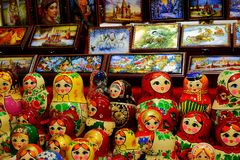 Traditional Russian souvenirs dolls matryoshka and palekh casket for sale Stock Images