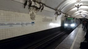 Arrival of train in Moscow metro stock footage