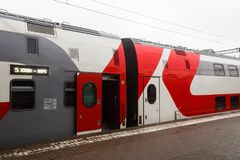 Two-story Moscow-Voronezh train of the Russian Railways stands Royalty Free Stock Photos