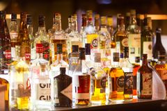 Moscow, Russia - December, 2018: Various alcohol bottles in a bar or restaurant stock photography