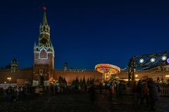 View of the Christmas and New Year decoration in the Red Square stock photography
