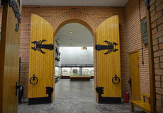 MOSCOW, RUSSIA: 06.09.2015 - doors and the hall of paleontologic Stock Photography