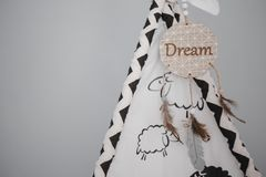 Moscow, Russia - 06 10 2018: dream catcher in the kids room, children's wigwam, home decor, cozy room stock photo