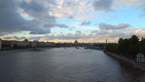 Evening sky over Moscow River. Moscow, Russia. Evening sky over Moscow River stock video