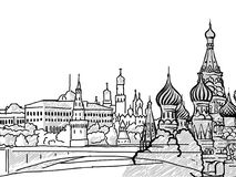 Moscow, Russia famous Travel Sketch. Lineart drawing by hand. Greeting card design, vector illustration vector illustration