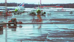 Moscow, Russia, Feb 27, 2016: View of emergency vehicle and S7 and Transaero aircrafts at the Domodedovo largest airport stock video