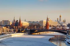 Free Moscow, Russia - February 01, 2018: Moscow Kremlin On A Sunny Winter Morning. Moscow Winter Royalty Free Stock Images - 109127309
