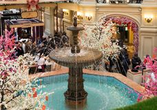 Moscow, Russia - February 11, 2018. Central fountain in oldest store Gum Stock Image