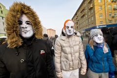 Moscow, Russia - February 4, 2012. Anti-government opposition ra Stock Photos