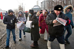 Moscow, Russia - February 4, 2012. Anti-government opposition ra Stock Image