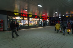 Moscow, Russia - February 21.2016. Area Leningradsky railway station with people and cafe Stock Photos