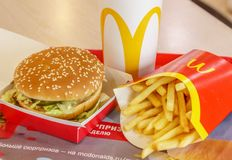 Moscow, Russia, February 12 2019: Big Mac hamburger menu in McDonald stock images