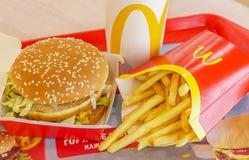 Moscow, Russia, February 12 2019: Big Mac hamburger menu in McDonald royalty free stock images