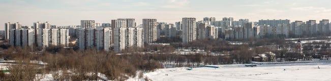 MOSCOW, RUSSIA - FEBRUARY 2017: Borisovskie Prudy - Borisovskie ponds, Borisovo district, Trinity Church, Orekhovo district, park. And walking people, panorama Royalty Free Stock Image