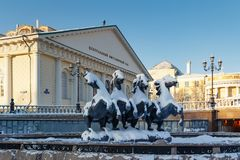 Moscow, Russia - February 01, 2018: Building of Moscow Manege in winter. Views from Alexandrovsky Garden Stock Photography