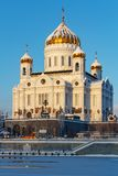 Moscow, Russia - February 01, 2018: Cathedral of Christ the Saviour on Moskva river background. Moscow in winter Royalty Free Stock Photos