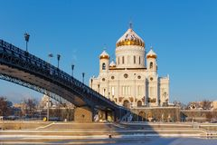 Moscow, Russia - February 01, 2018: Cathedral of Christ the Saviour on Patriarshiy Bridge background against the blue sky at sunny Stock Photography