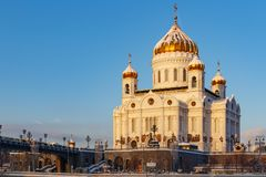 Moscow, Russia - February 01, 2018: Cathedral of Christ the Saviour at sunny winter morning. Moscow in winter Royalty Free Stock Photo