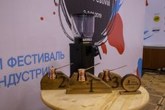 Moscow, Russia - 03 February, 2019. Cezve Coffee Festival. Table with prizes stock photography