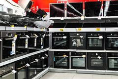 Moscow, Russia - February 20, 2018. Electric ovens and hobs in electronics store Eldorado Royalty Free Stock Image