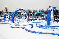 Exhibition of Achievements of the National Economy , park at VDNKh in winter and snow
