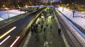 Moscow;Russia, February -first -Two thousand seventeen year;afte. After the end of working day,  people depart home on train,time lapse Stock Photos