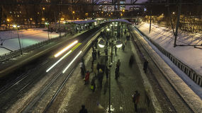 Moscow;Russia, February -first -Two thousand seventeen year;afte. After the end of working day,  people depart home on train,time lapse Royalty Free Stock Photo