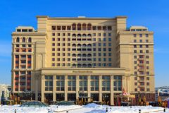 Moscow, Russia - February 14, 2018: Four Seasons Hotel on Manege square. Moscow in winter Royalty Free Stock Image