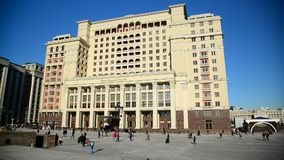 Moscow, Russia -February 18.2016. Four Seasons Hotel at Manezh square stock video