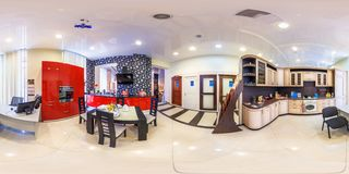 MOSCOW, RUSSIA - FEBRUARY, 2013: Full spherical seamless panorama 360 angle view in interior modern kitchen furniture store royalty free stock image