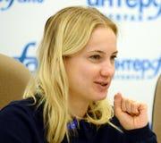 Head of the Main Department of Social Communications of the Moscow Region Irina Pleshcheva. MOSCOW, RUSSIA FEBRUARY 8, 2018: Head of the Main Department of royalty free stock photo