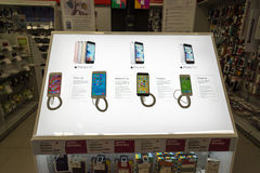 Moscow, Russia - February 02. 2016. IPhone 6 in  Eldorado is large chain stores selling electronics Royalty Free Stock Photo