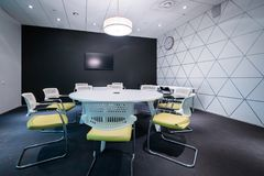 Meeting room is ready for Winter Bicycle Congress Royalty Free Stock Photography