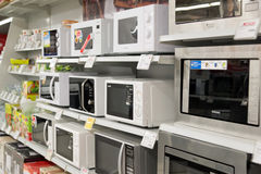 Moscow, Russia - February 02. 2016. microwave oven  in Eldorado, large chain stores selling electronics Royalty Free Stock Photos