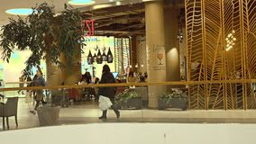 MOSCOW, RUSSIA - FEBRUARY, 28, 2017. Modern cafe in shopping mall Metropolis Royalty Free Stock Photos