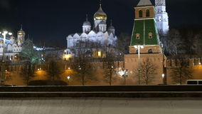 MOSCOW, RUSSIA, February 23, 2017. The Moscow Kremlin and the embankment in the evening. Ancient cathedrals and golden stock video footage