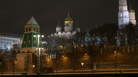 MOSCOW, RUSSIA, February 23, 2017. The Moscow Kremlin and the embankment in the evening. Ancient cathedrals and golden stock video