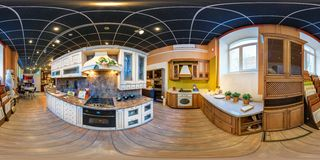 MOSCOW, RUSSIA - FEBRUARY 17, 2013: Panorama interior modern furniture kitchen store. Full spherical 360 by 180 degrees seamless royalty free stock photo